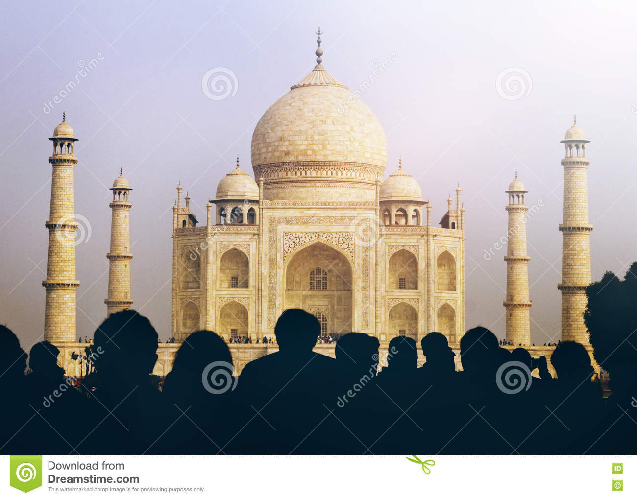 View Of Taj Mahal With Tourist Silhouettes Concept Stock