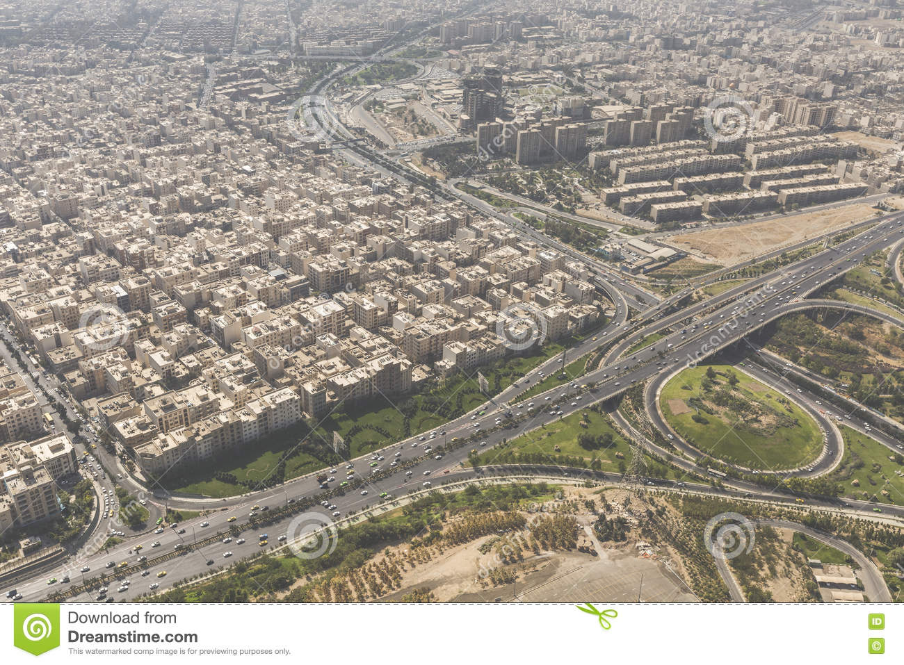 View Of Tehran From The Azadi Tower - Iran Stock Photo - Image ...