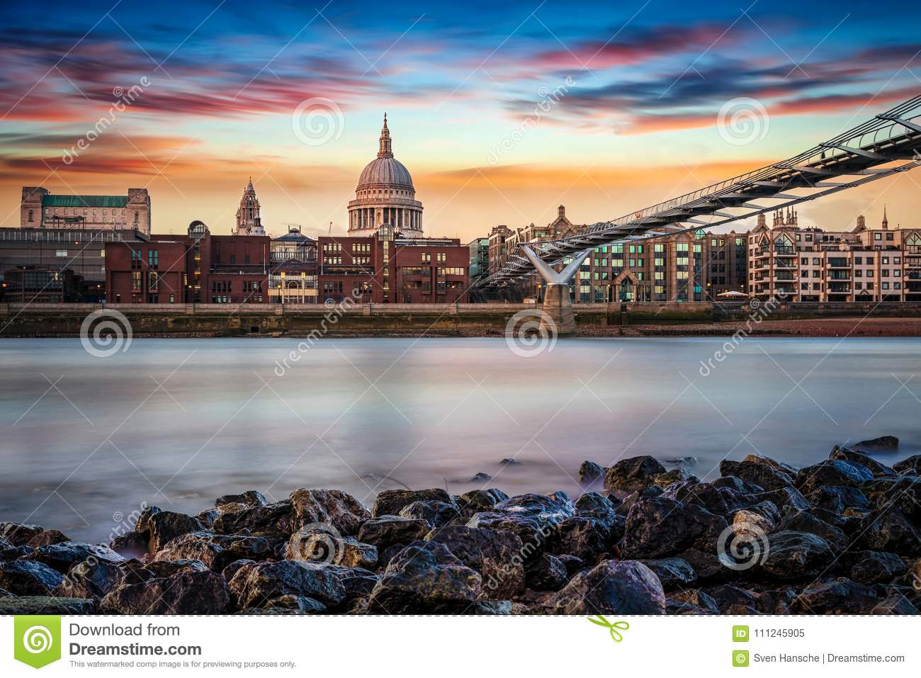 View from the Thames bank to St. Pauls Cathedral in London, UK
