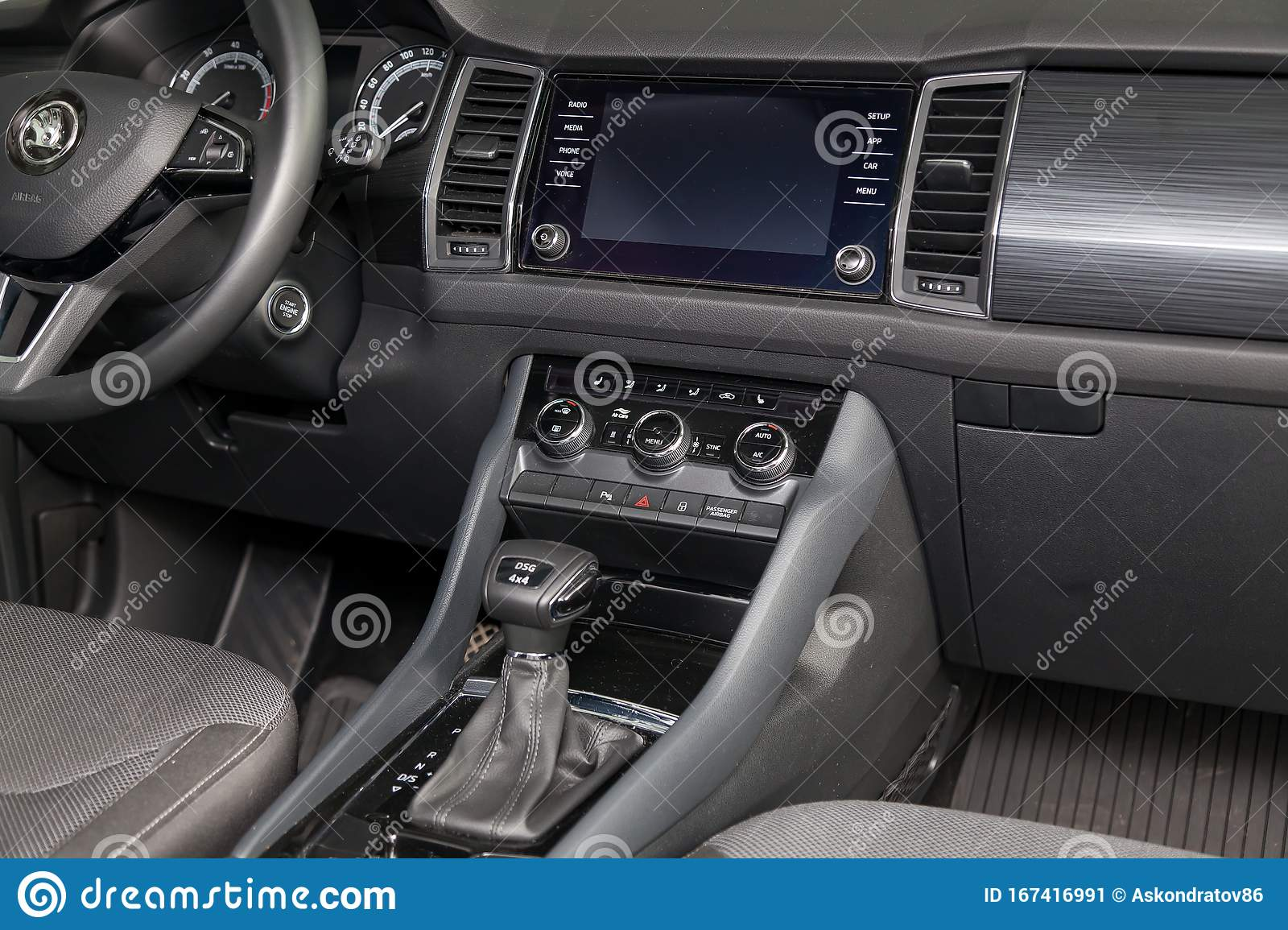 View To The Black Interior Of Skoda Kodiaq With Dashboard Steering Media System Front Seats And Shiftgear After Cleaning Before Editorial Photo Image Of Modern Airbag 167416991