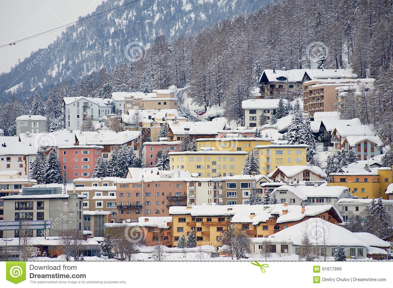 view to the buildings of st. moritz, switzerland. st.moritz is the