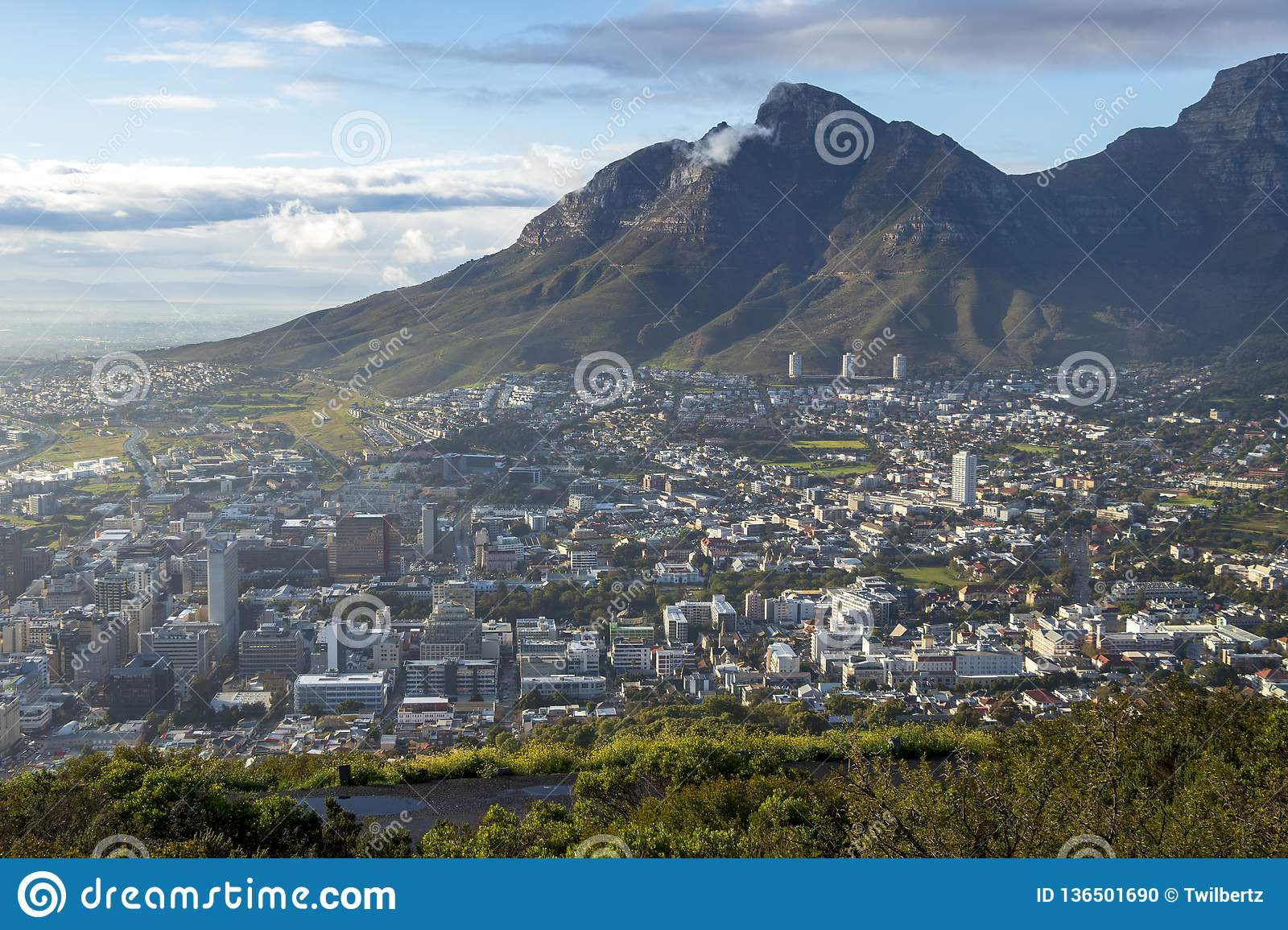 View to the center of Cape Town with mountains