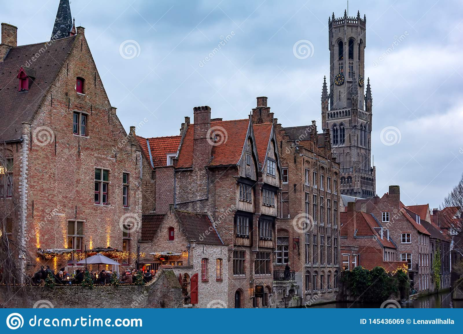 View to the classic medieval buildings and Belfry of Bruges from the Rozenhoedkaai