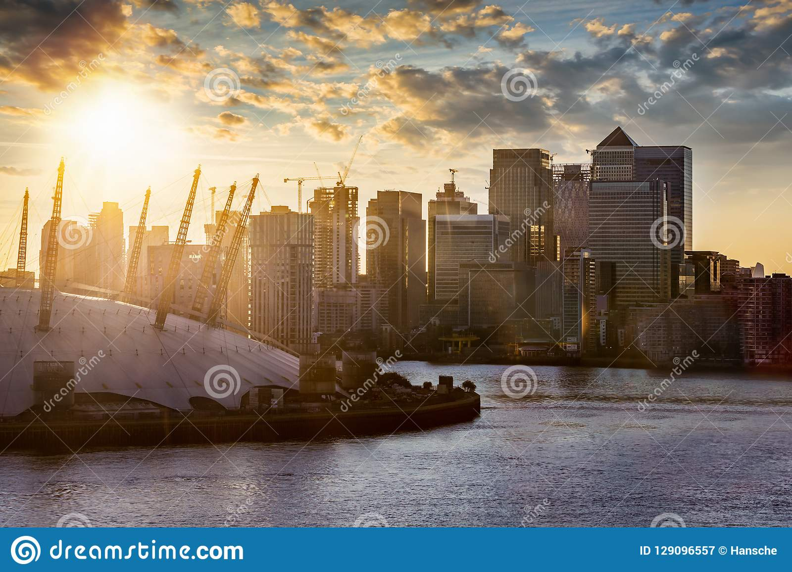 View to the financial district of London, Canary Wharf, United Kingdom