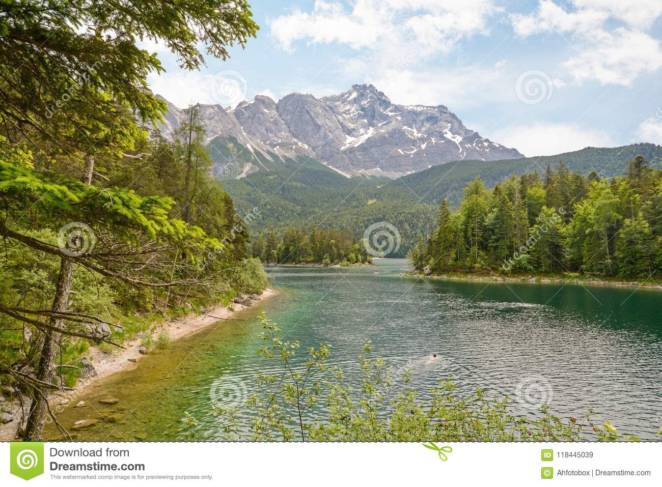 View to lake Eibsee and Zugspitze, Germany`s highest mountain in the bavarian alps, Bavaria Germany