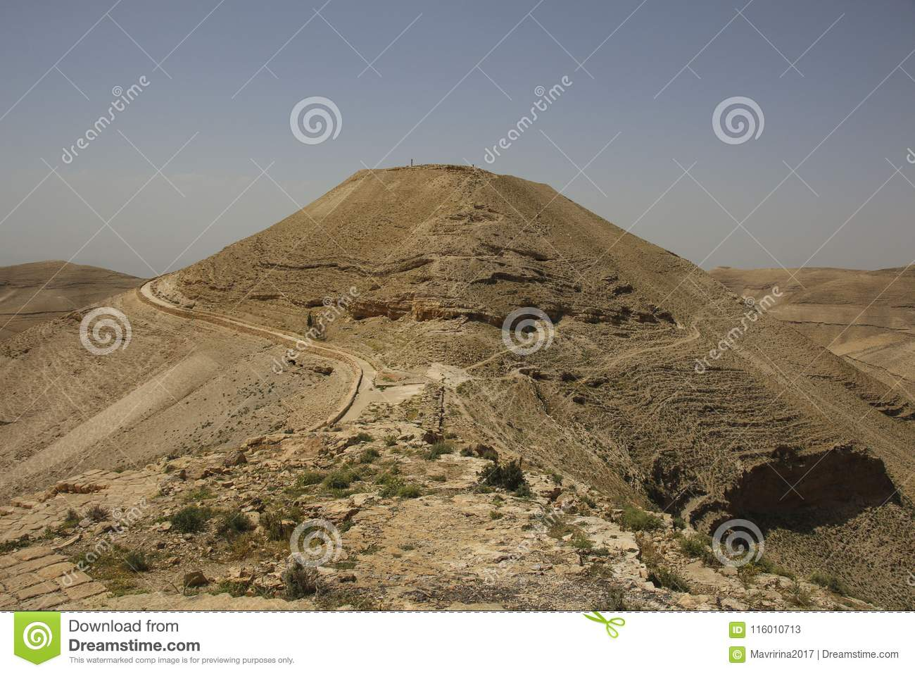 view to the machaerus and herod castle ruins jordan place of e