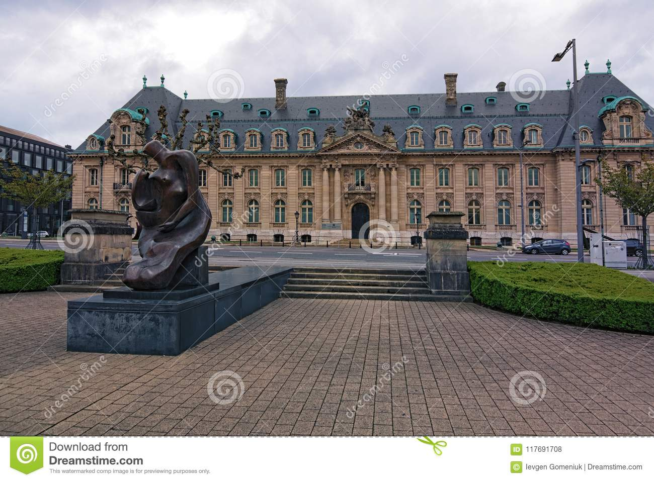 View to the Monument at Place Des Martyrs. It is a garden square in Luxembourg City