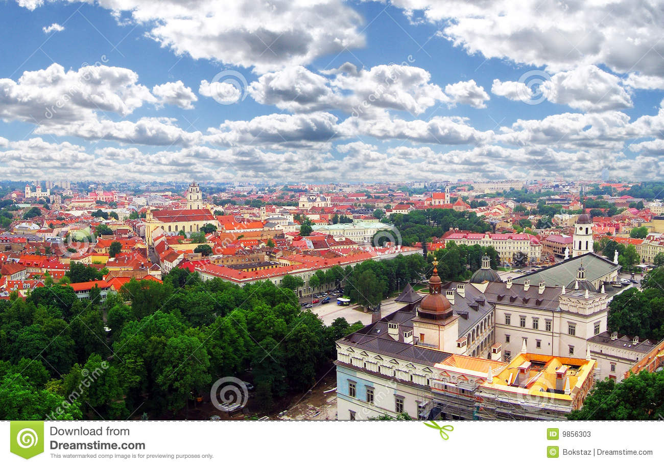 View To The Old City Capital Of Lithuania Stock Photos