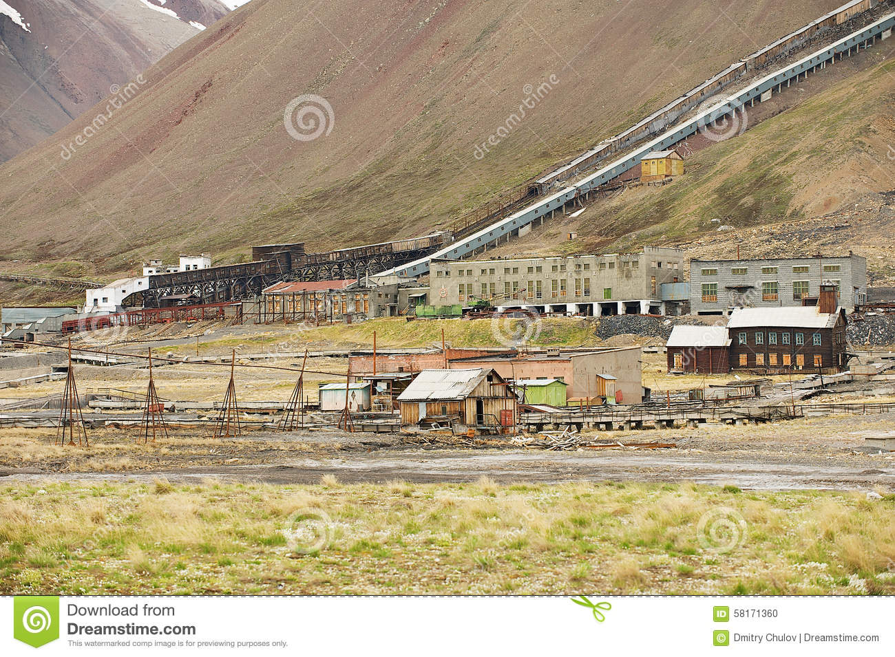 View to the ruined coal mine in the abandoned Russian arctic settlement Pyramiden, Norway.