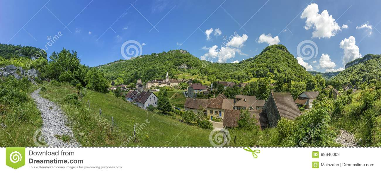 View to scenic smal village of Baume les Messieurs