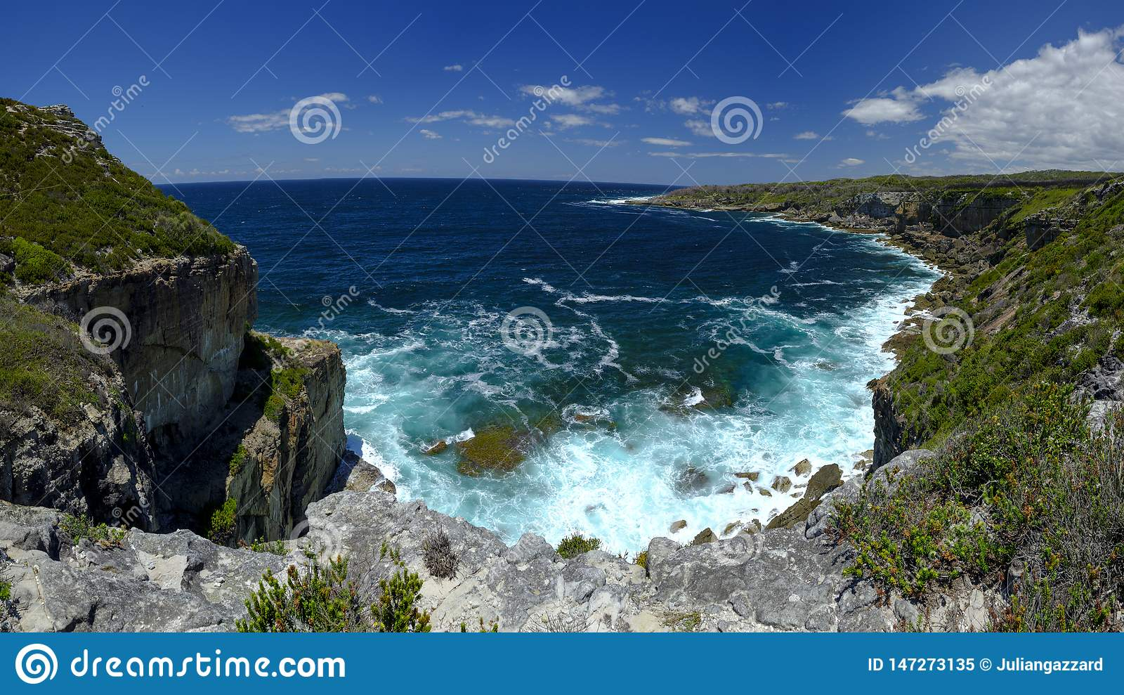 The view to seaward from Cape St George Light House in the Jervis Bay National Park, NSW, Australia