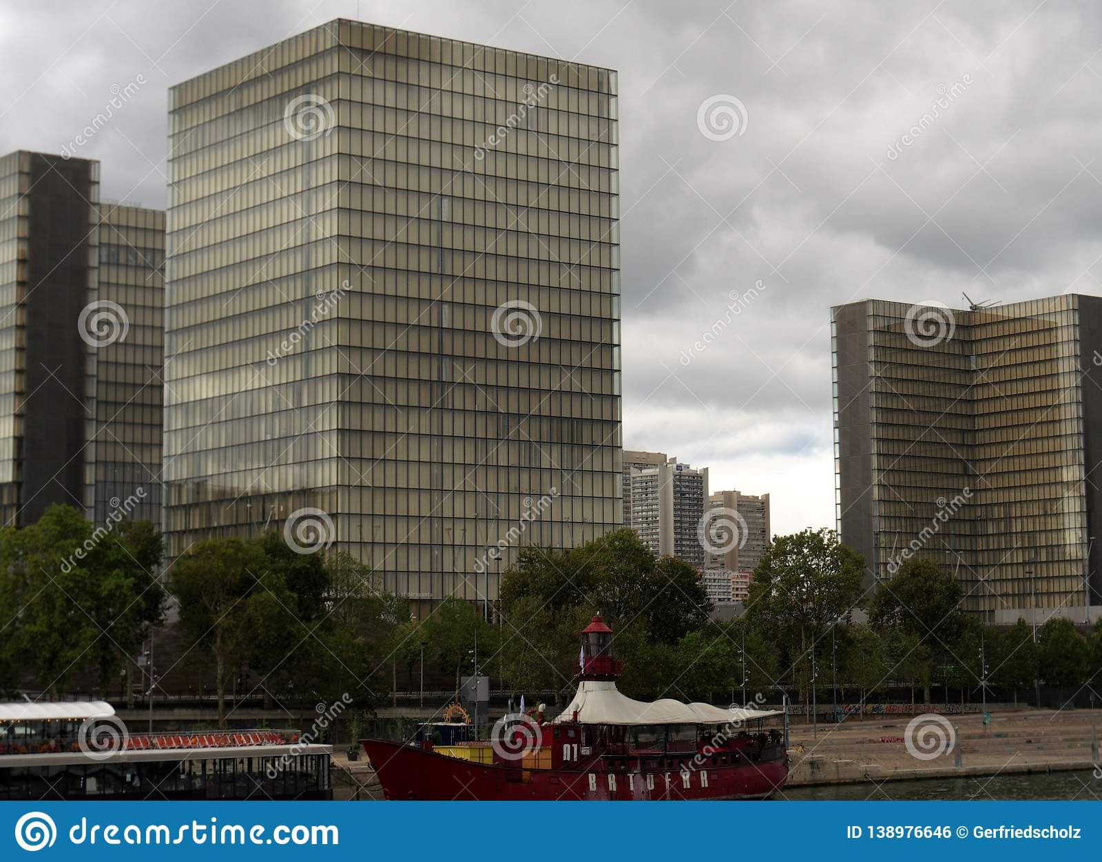 View to southeast, northeast and southwest buildings from Bibliothèque nationale. Paris, France, 8.13.2018, 12 o`clock and 5, view to southeast, northeast and royalty free stock image