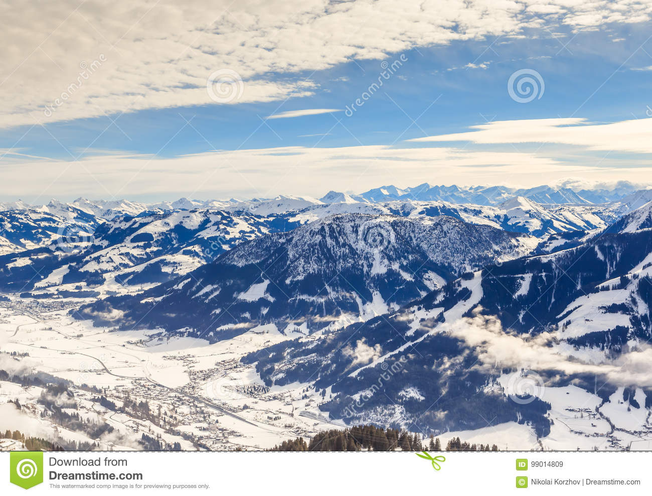 view from the top of the mountain hohe salve. ski resort soll stock