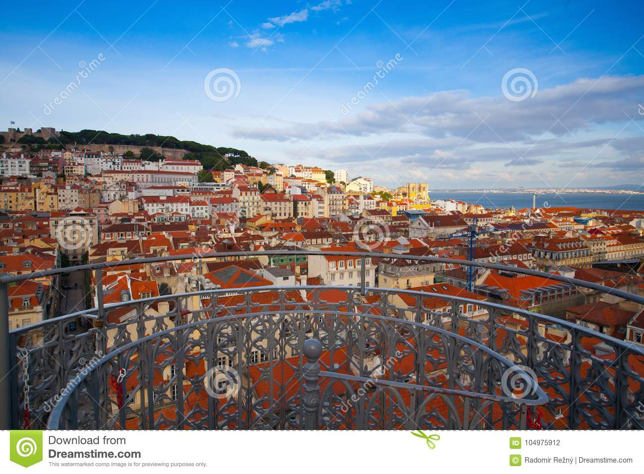 View from the top of the Santa Justa elevator on Lisbon