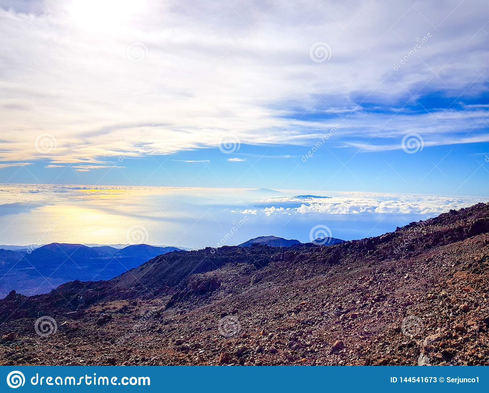 View From The Top Of Teide De La Caldera And The Island Of