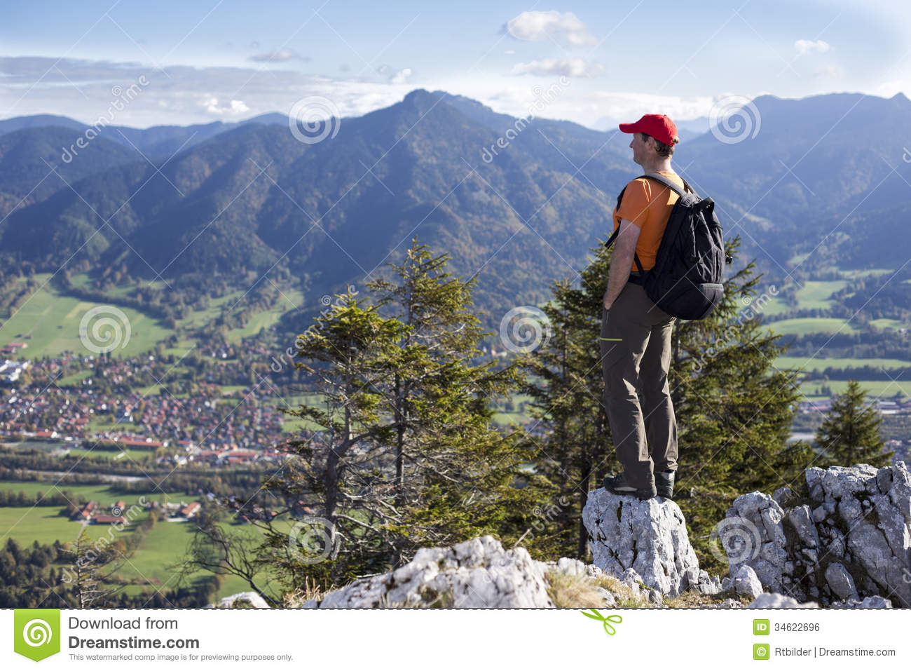 view from top stock photo image of male climber