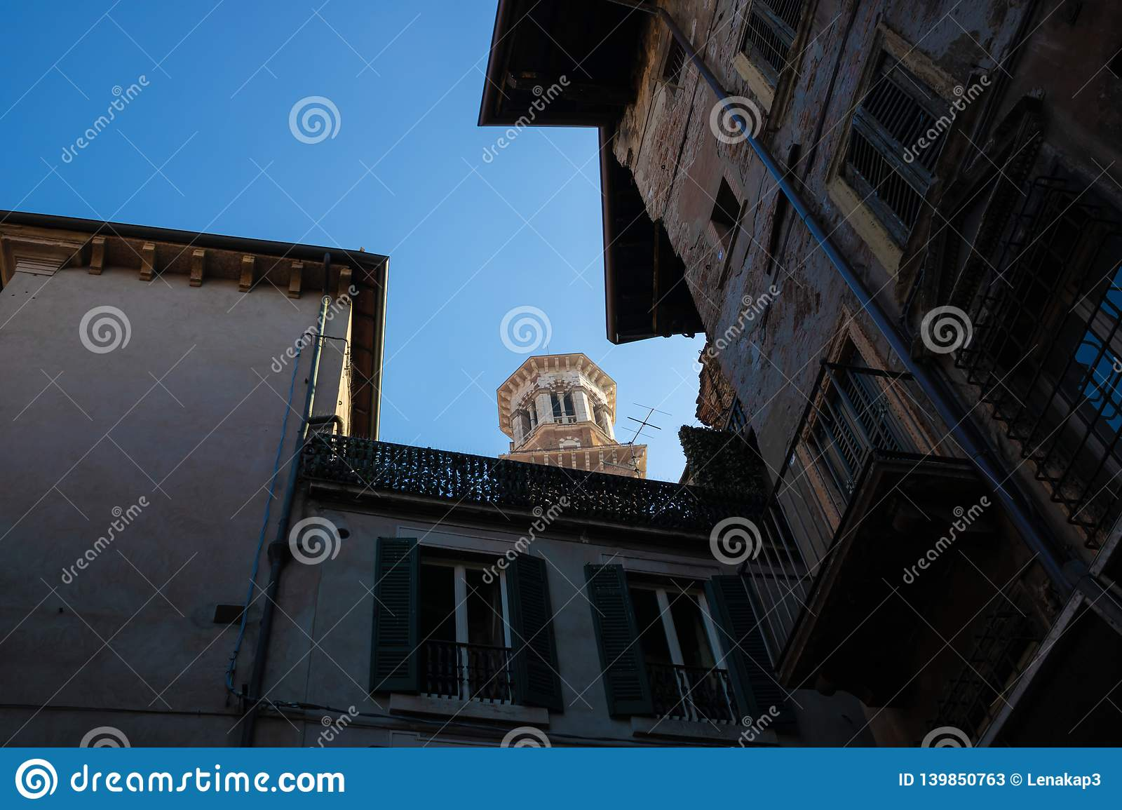 The view at Torre dei Lamberti from a street, Verona, Italy - Image