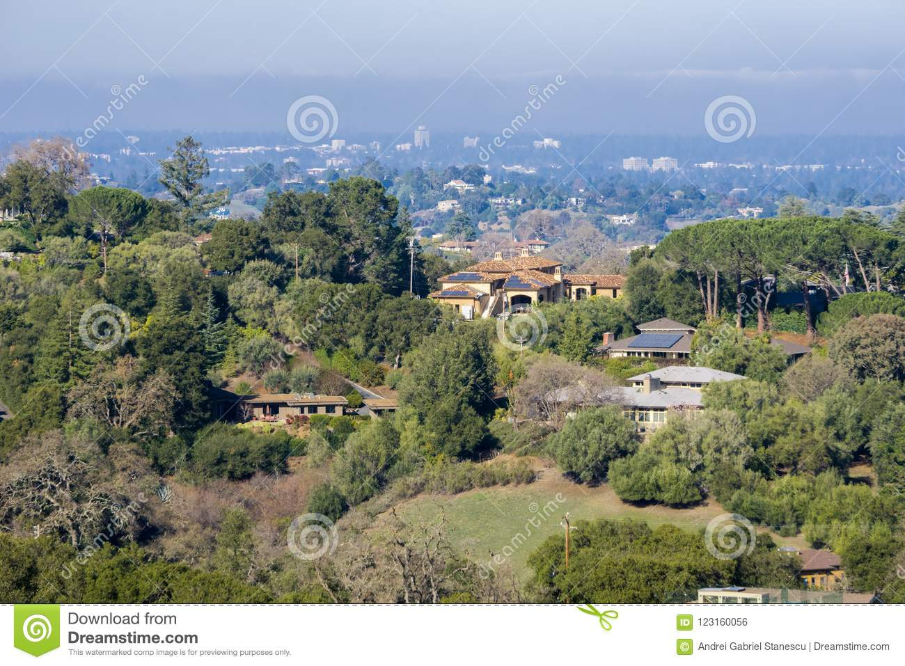 View towards the houses built in Los Altos hills