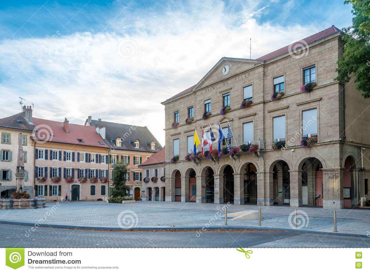 View at the Town hall in Thonon les Bains - France