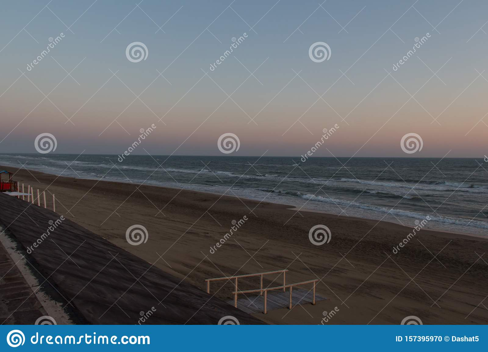 Beautiful sunset on a beach. Twilight on Tyrrhenian sea