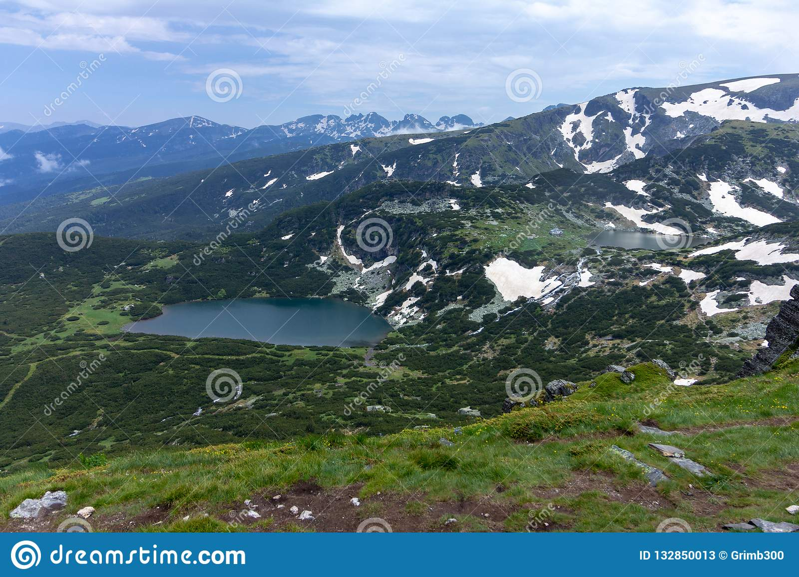 View of two of the Seven Rila Lakes in Bulgaria