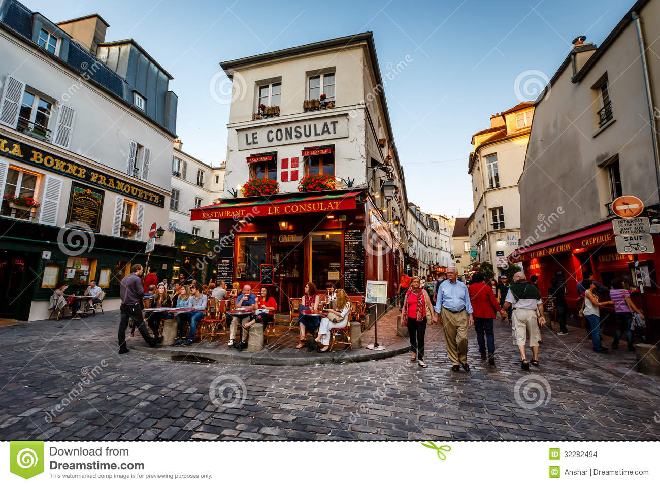 262b3210b7 View of Typical Paris Cafe Le Consulat on Montmartre