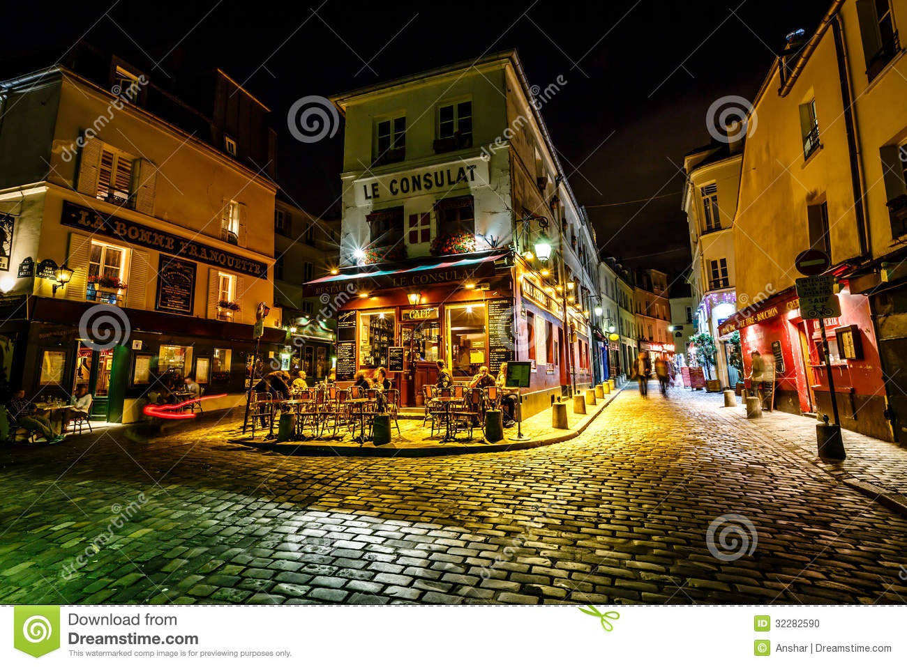View Of Typical Paris Cafe Le Consulat On Montmartre ...