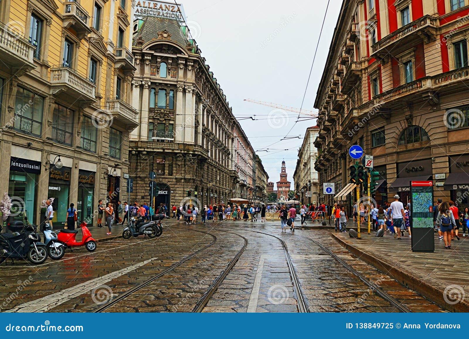 Via Dante Street Metropolitan City Of Milan Italy Editorial Image Image Of Building Network 138849725