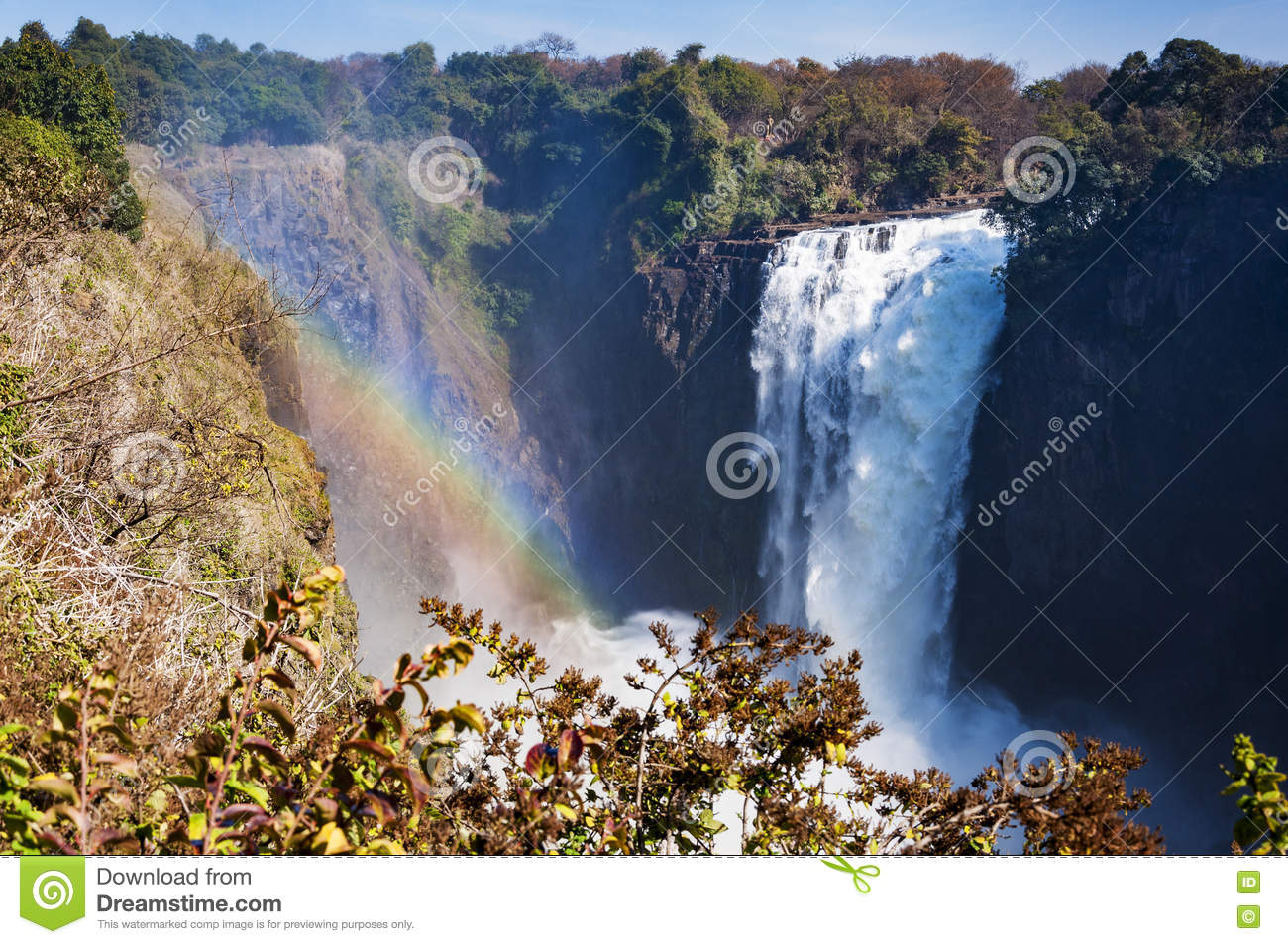 View Of The Victoria Falls In Zimbabwe Africa Stock Photo