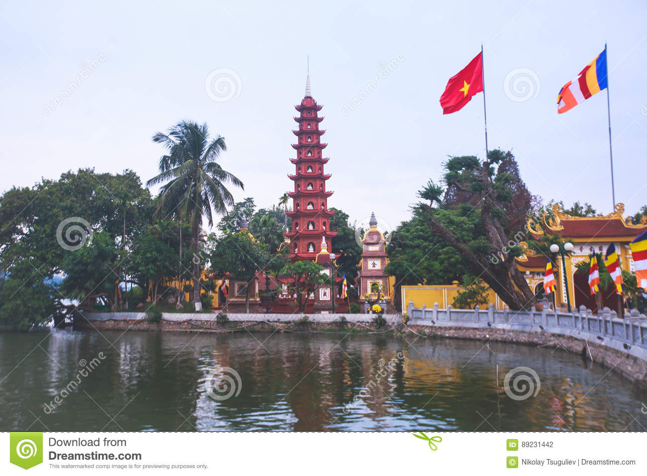 View Of Vietnam Capital City Hanoi With Traditional Vietnamese Architecture Stock Photo Image Of Hoan Pagoda 89231442