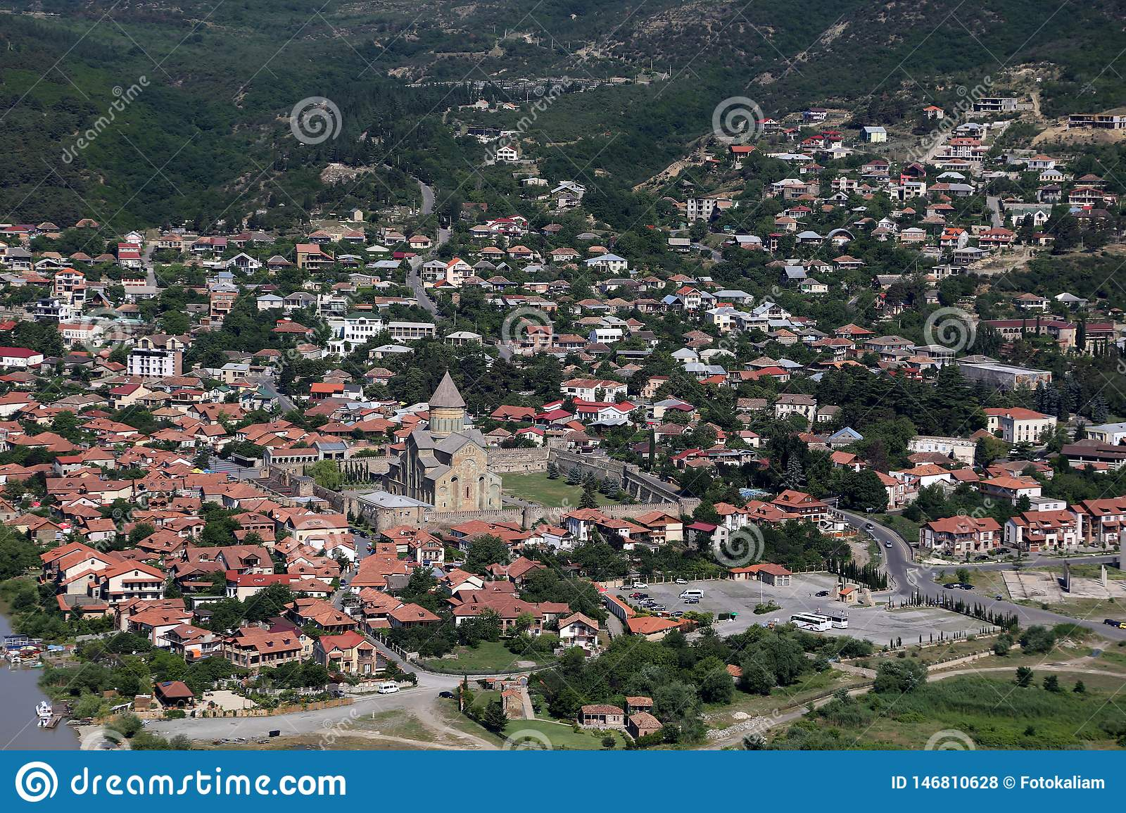View from the viewing platform of the Jvari Monastery on the city of Mtskheta