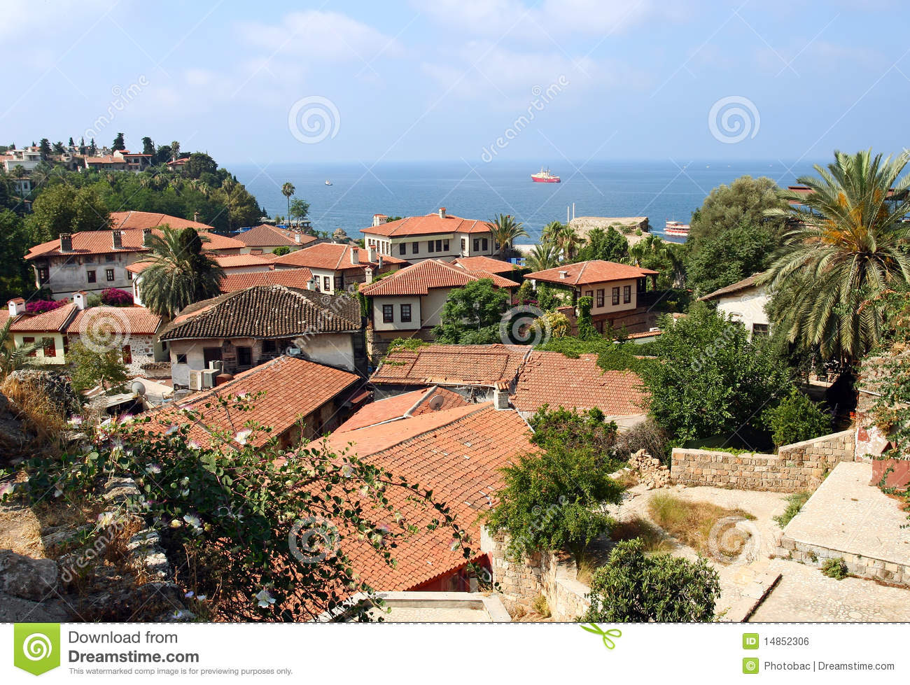 View of village on Mediterranean coast, Turkey