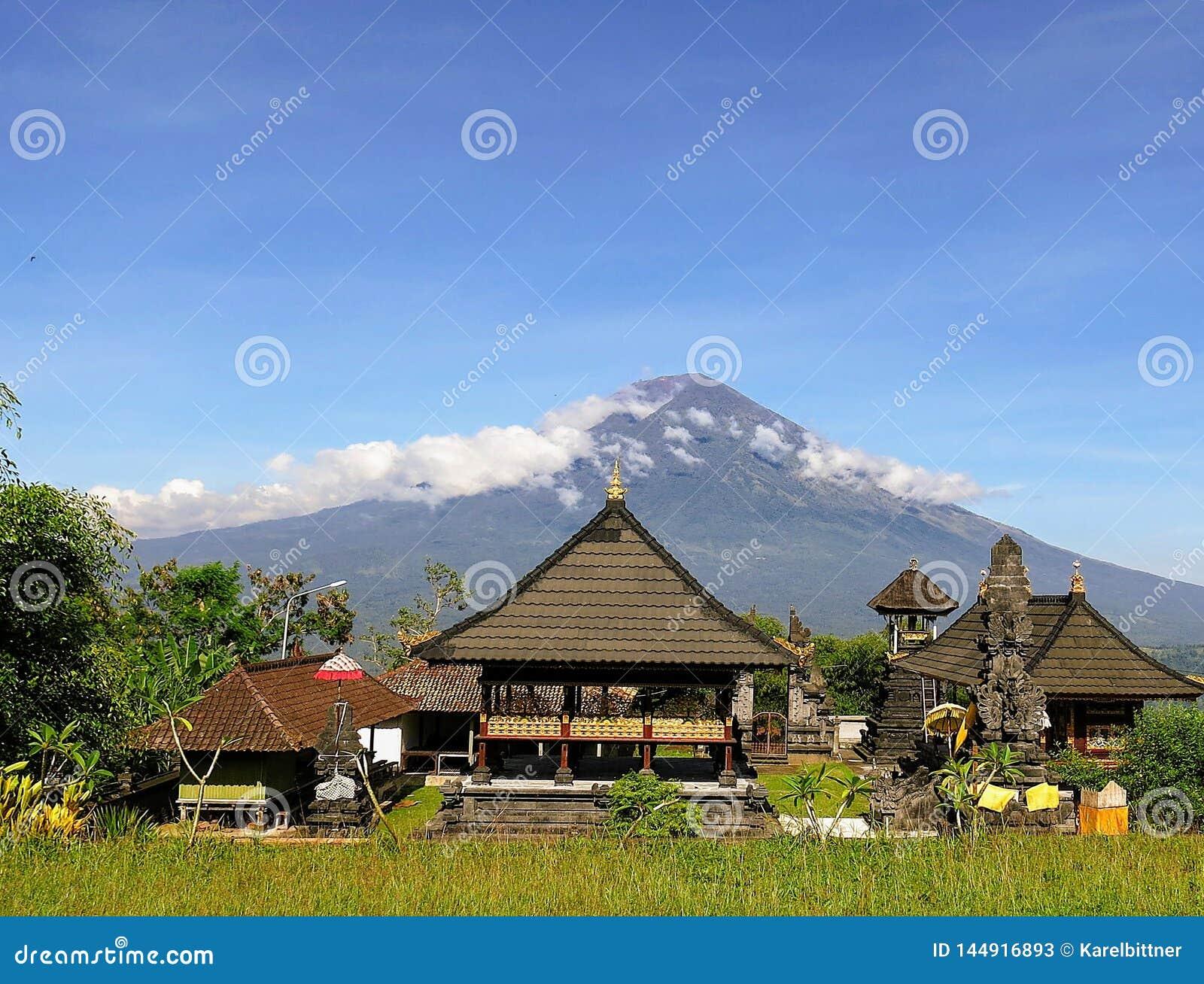View Of Volcano Gunung Agung On Bali Island In Indonesia Stock