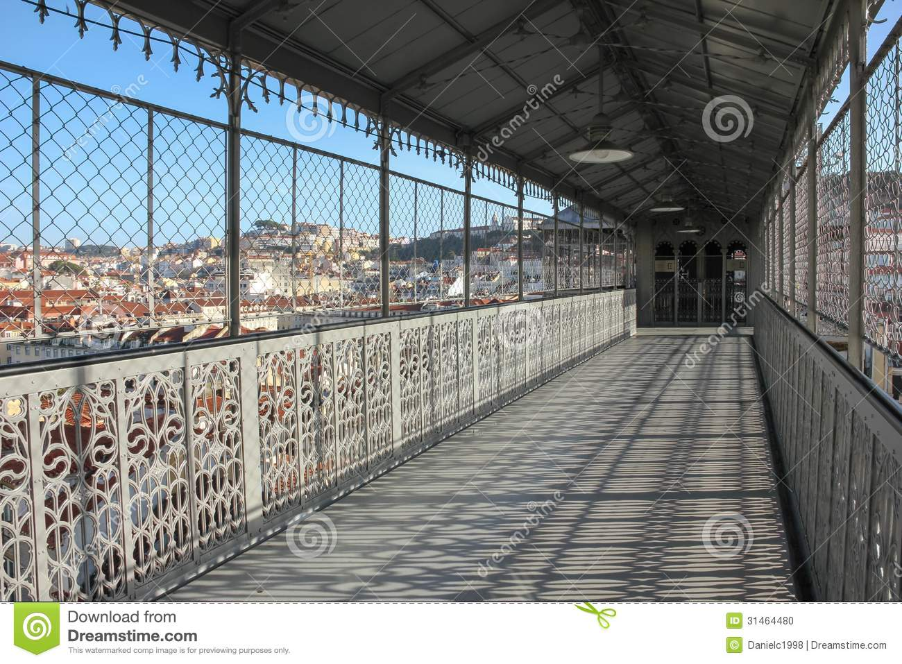 View from the walkway of the Santa Justa Lift. Lisbon. Portugal