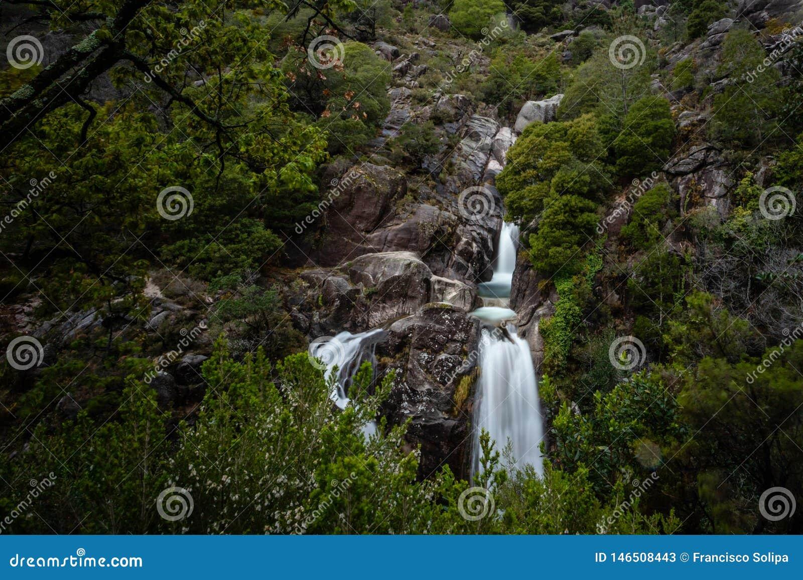 View of waterfall of Arado on Peneda Geres National Park, Portugal
