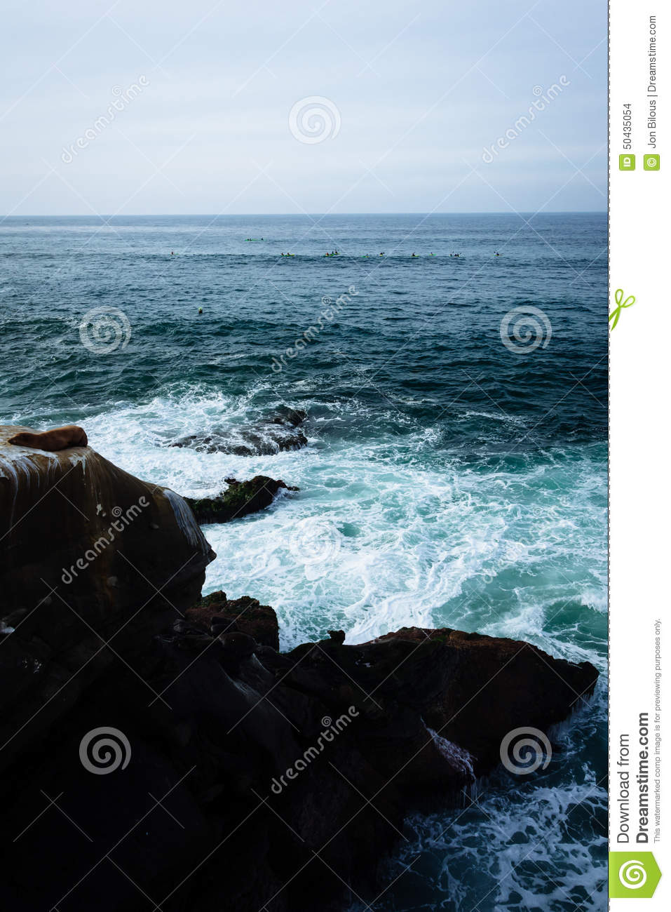 View of waves and rocks in the Pacific Ocean, seen from La Jolla, California.