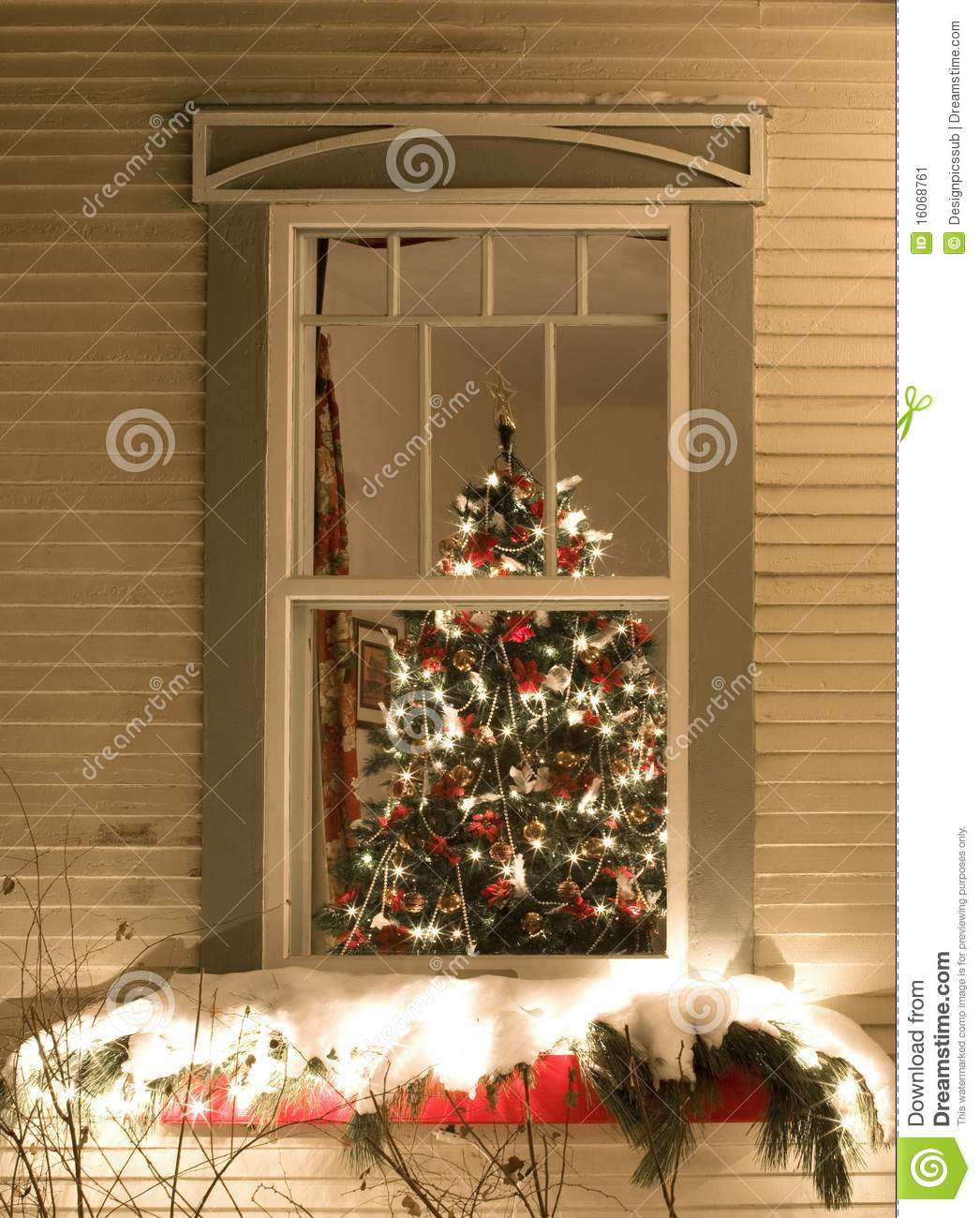 View Through A Window Of A Christmas Tree Stock Image