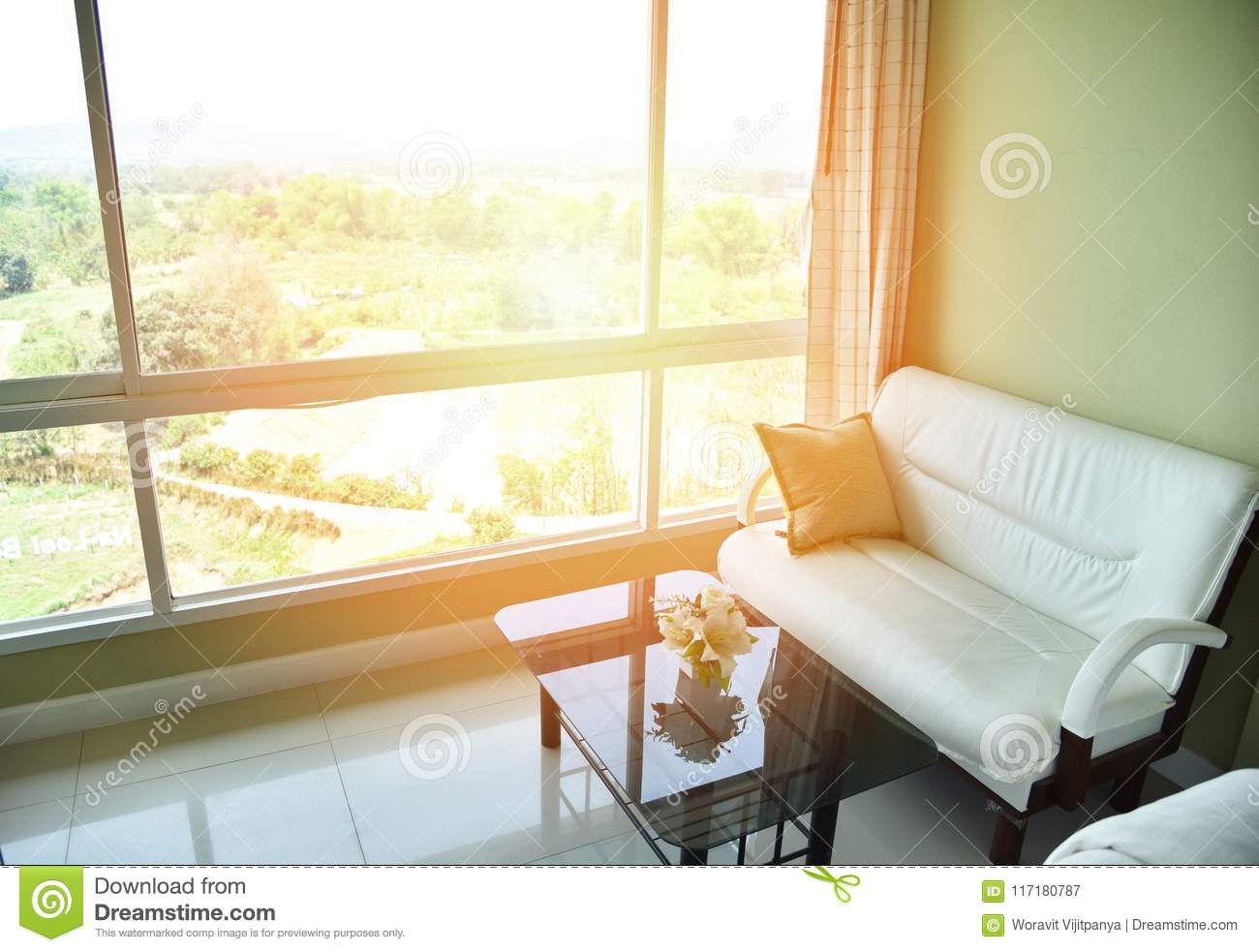 . View From Window In Cozy Living Room With Modern Stock Image   Image