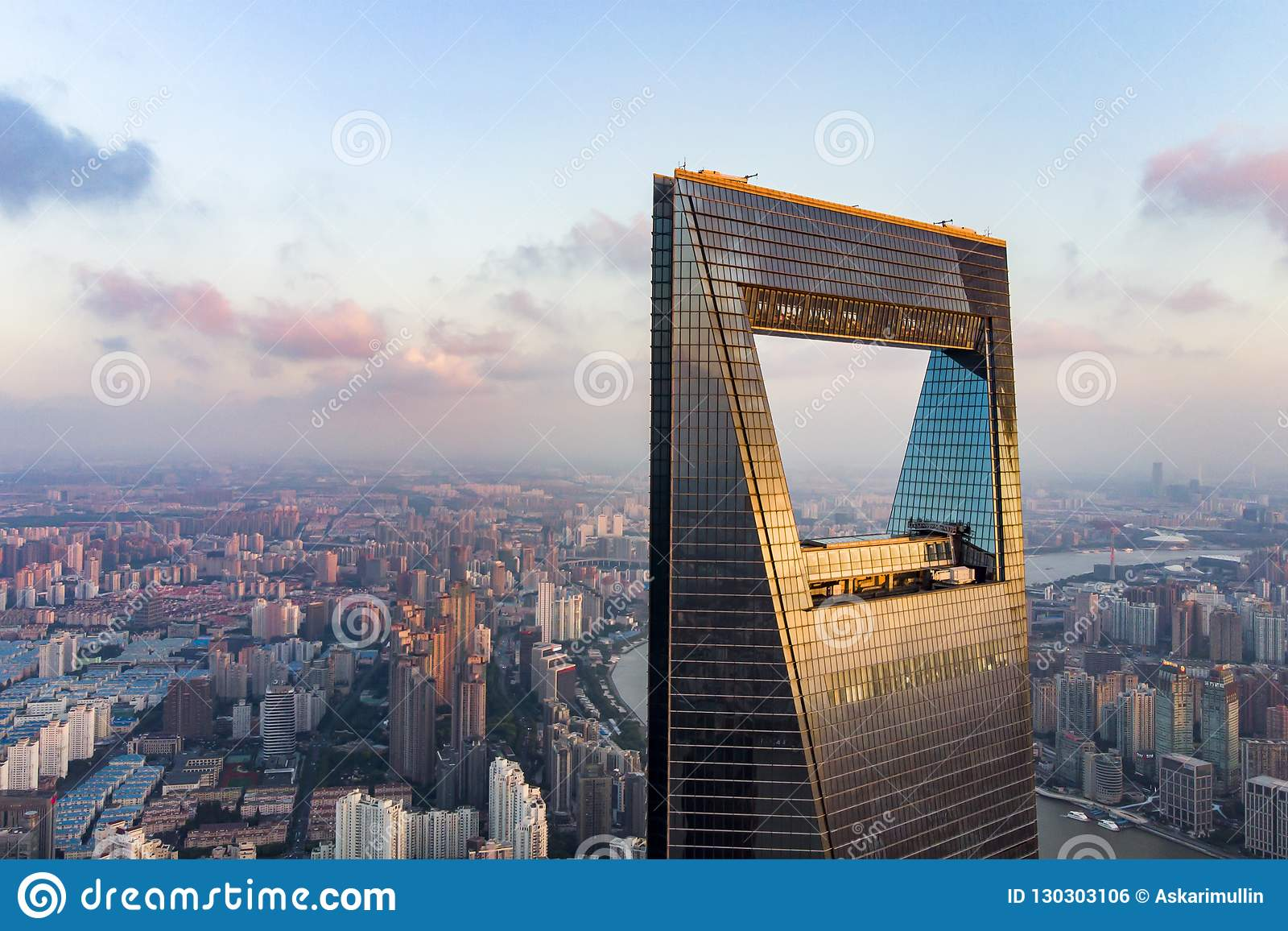 View Through Window Of Shanghai Tower To Low Rise Residential District in Pudong.