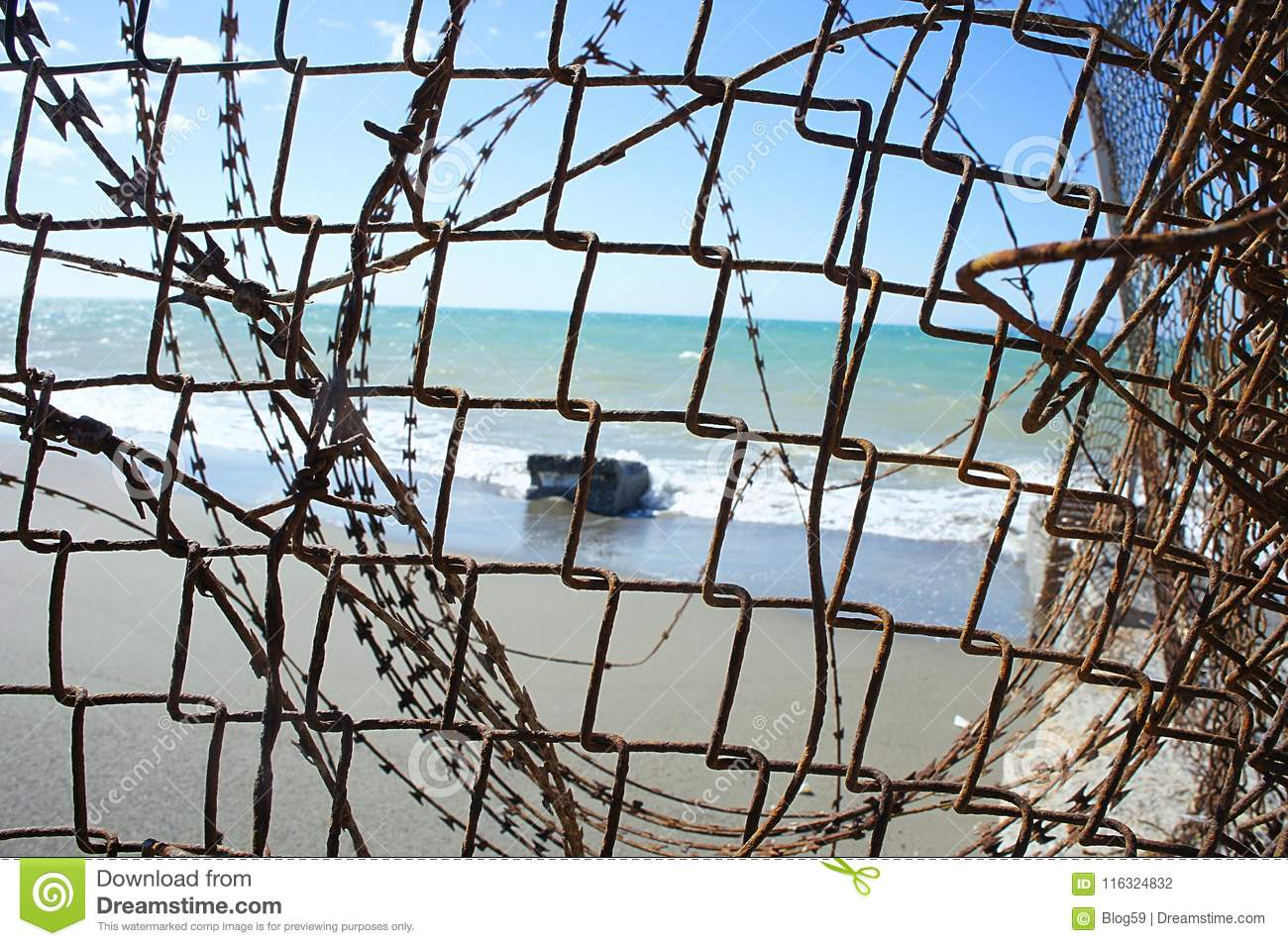 View Through A Wire Mesh Fence Stock Photo - Image of holiday ...