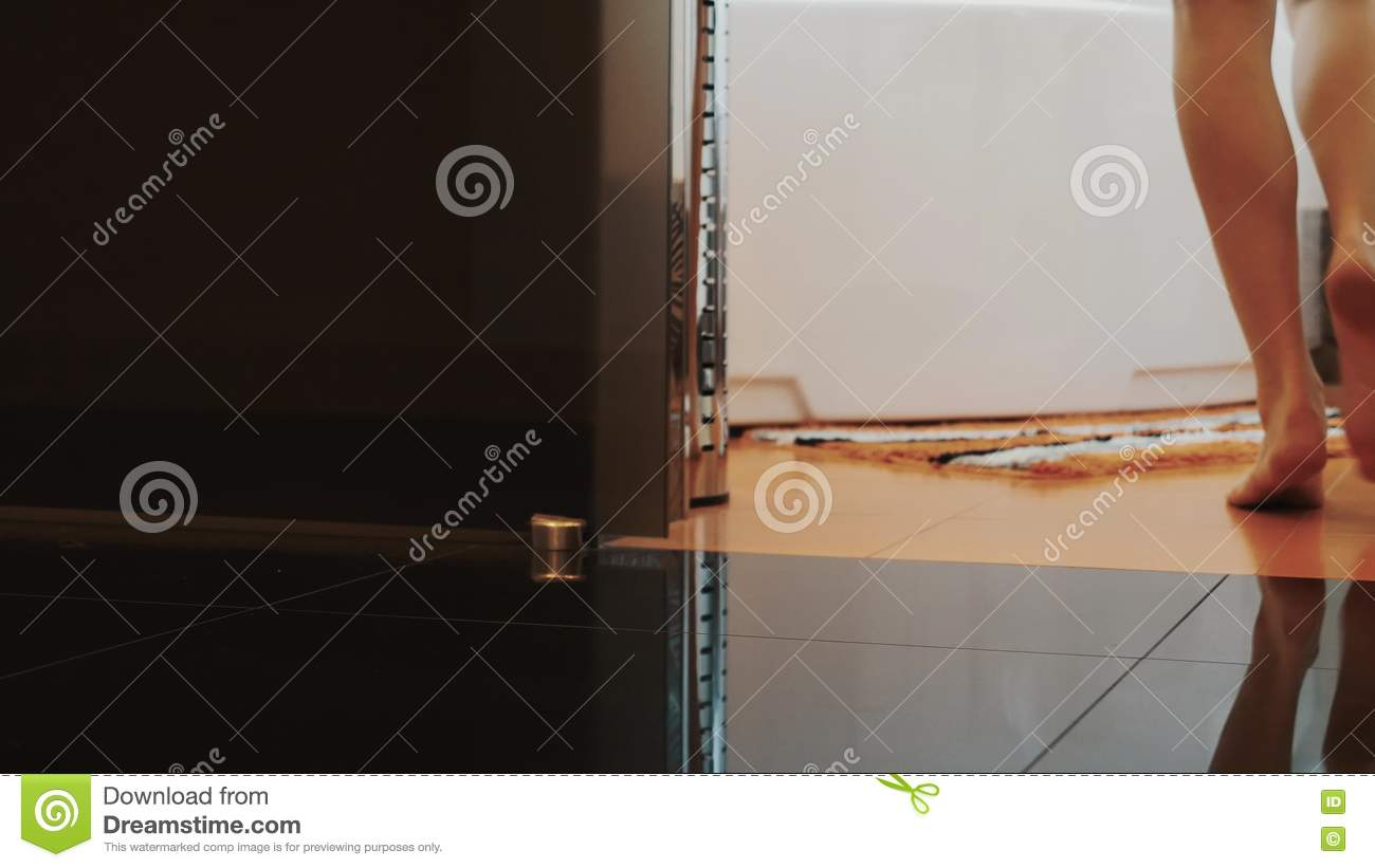 View Of Woman Elegantly Walk To Bathroom On Tiptoe And Sit Down On ...
