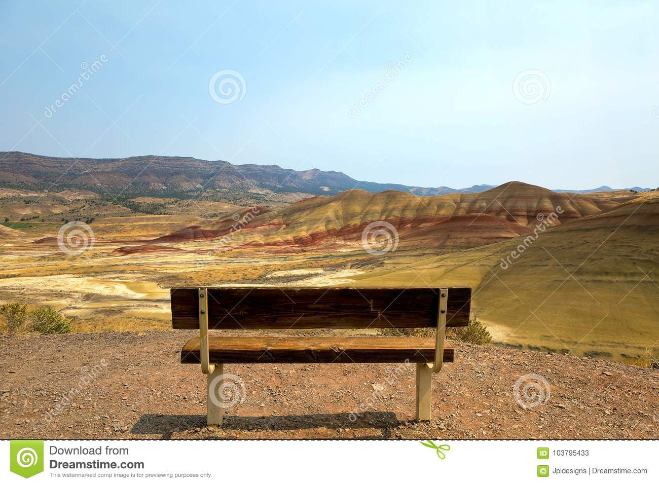 Bench View at Painted Hills Overlook in eastern Oregon