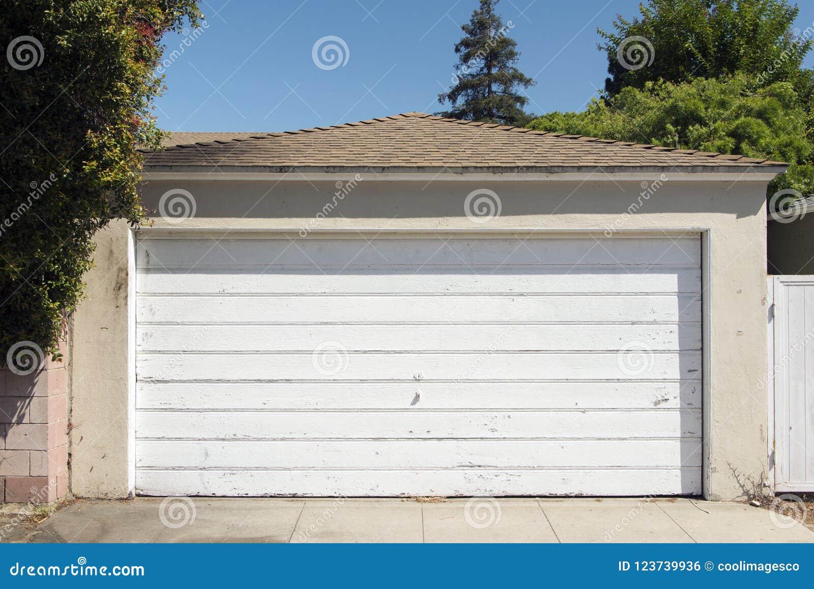 A View Of A Wooden Garage Door In Santa Monica California Stock