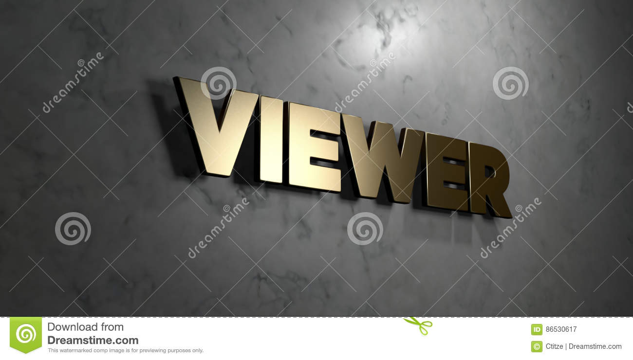 Viewer - Gold Sign Mounted On Glossy Marble Wall - 3D