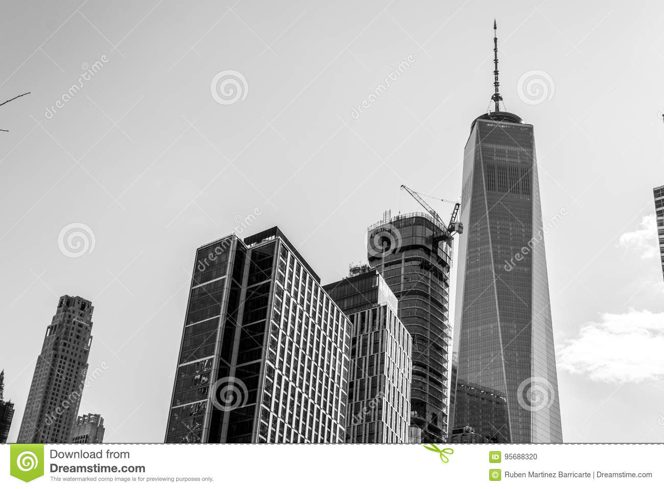 Views Of The Financial District From Tribeca Nyc Stock Photo