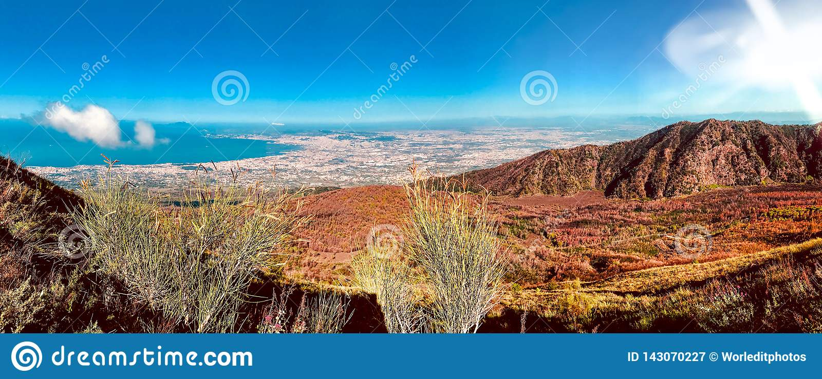 Views of landscape from the route to Mount Vesuvius in Naples, Italy