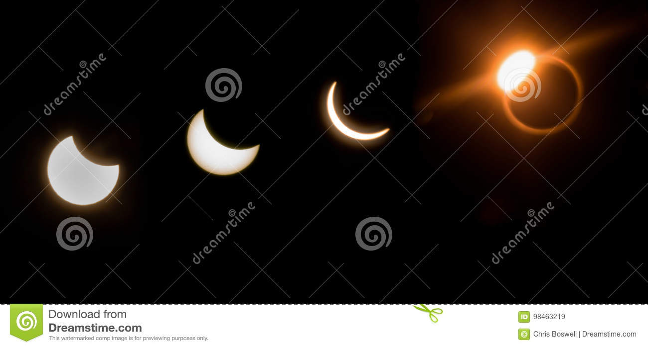 4 Views 2017 Solar Eclipse Panoramic Sun Moon