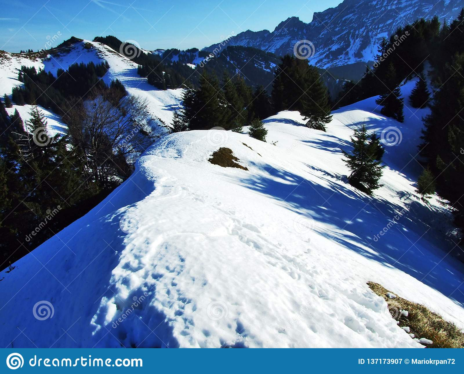 Views And Winter Ambiance At The Top Of Spitzli Near The