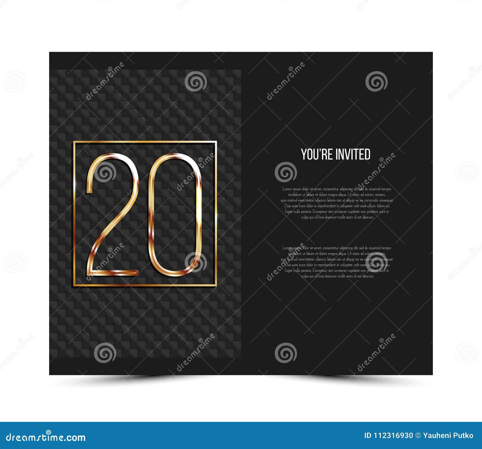 Vigésima Plantilla De La Tarjeta De La Invitación Del Aniversario ...