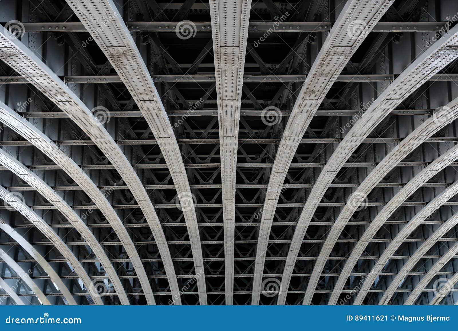 Vigas de aço paralelas que apoiam o período da ponte